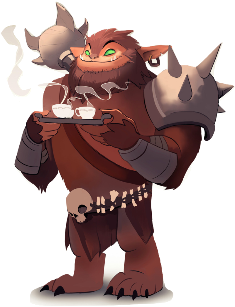 Klaarg the bugbear holding a tea tray with a welcoming smile. Artist Credit: Andrew Soman